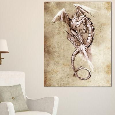 Designart Fantasy Dragon Tattoo Sketch Abstract Print On Canvas - 3 Panels