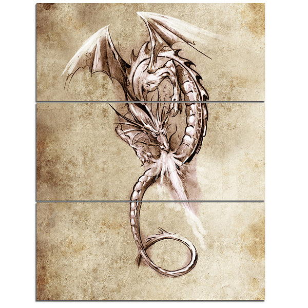 Designart Fantasy Dragon Tattoo Sketch Abstract Print On Canvas - 3 Panels