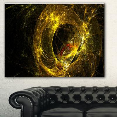 Designart Far Spherical Galaxy Golden Abstract Canvas Art Print - 3 Panels