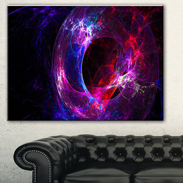 Designart Far Spherical Galaxy Purple Abstract Canvas Art Print