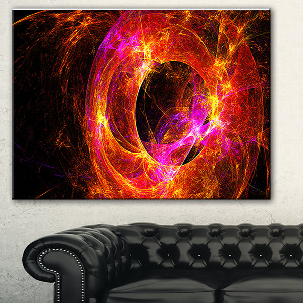 Designart Far Spherical Galaxy Red Abstract CanvasArt Print - 3 Panels