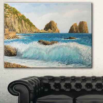 Designart Faraglioni On Island Capri Seascape Canvas Art Print - 3 Panels