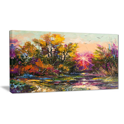 Designart Farewell To Autumn Landscape Art PrintCanvas