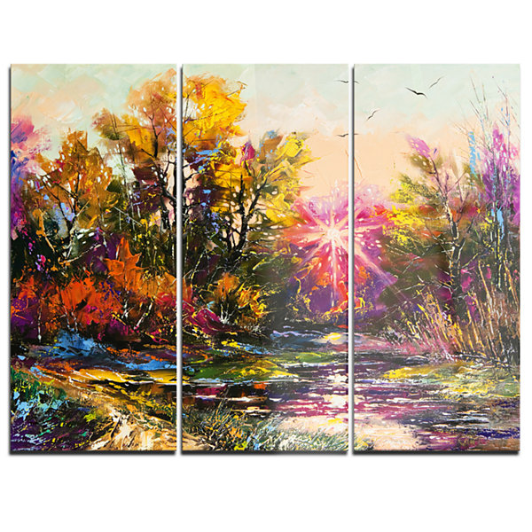 Designart Farewell To Autumn Landscape Art PrintCanvas - 3 Panels