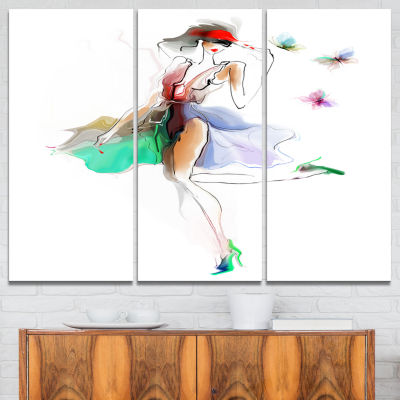 Designart Fashion Girl In Multiple Colors PortraitCanvas Art Print - 3 Panels