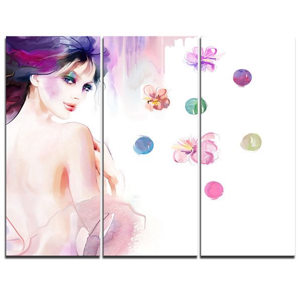 Designart Fashion Woman With Purple Shade Watercolor Painting Canvas Print - 3 Panels