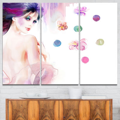 Design Art Fashion Woman With Purple Shade Watercolor Painting Canvas Print - 3 Panels