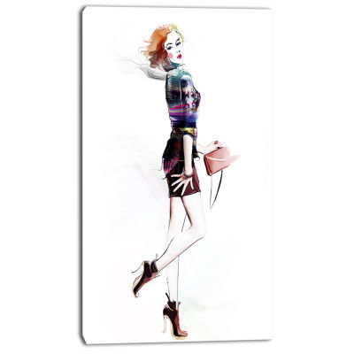 Designart Fashionable Young Girl Abstract PortraitCanvas Print