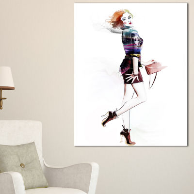 Designart Fashionable Young Girl Abstract PortraitCanvas Print - 3 Panels