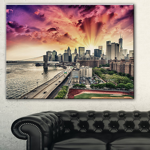 Designart Fdr Drive And Manhattan Skyline Cityscape Photo Canvas Print - 3 Panels