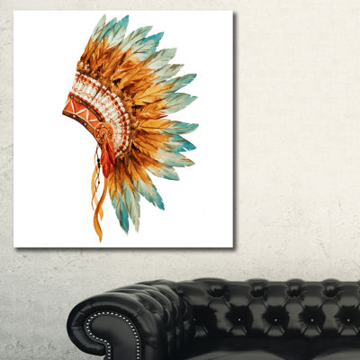 Designart Feathers On Ethnic Skull Abstract CanvasArt Print - 3 Panels