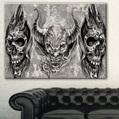 Designart 3 Demons Tattoo Sketch Abstract PortraitCanvas Print - 3 Panels