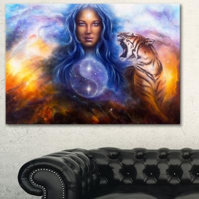 Designart Female Goddess Lada Portrait Canvas ArtPrint - 3 Panels