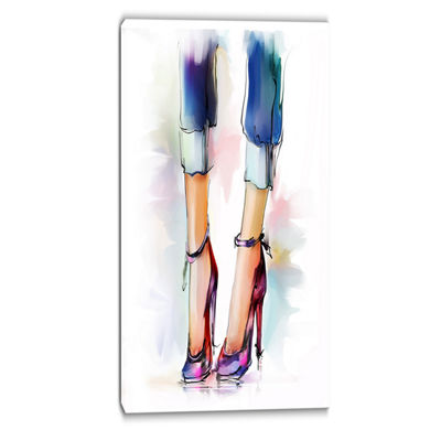 Designart Female Legs And Shoes Contemporary Canvas Art Print
