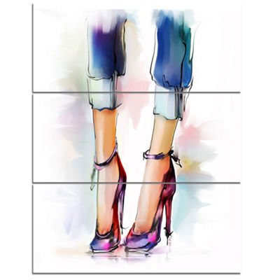 Designart Female Legs And Shoes Contemporary Canvas Art Print - 3 Panels