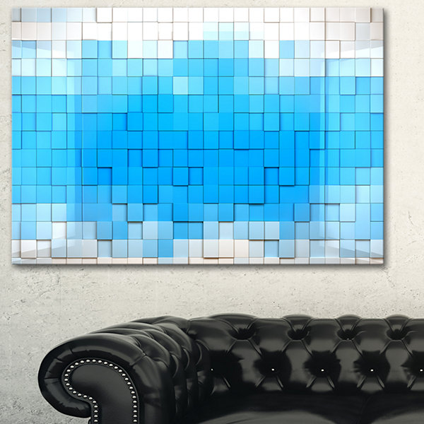 Designart 3D Blue Cubes Contemporary Art Canvas Print