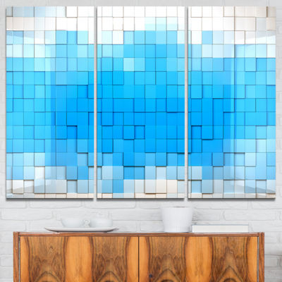 Designart 3D Blue Cubes Contemporary Art Canvas Print - 3 Panels