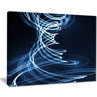 Designart 3D Illuminated Helix Shapes Abstract Canvas Art Print
