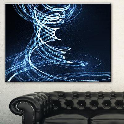 Designart 3D Illuminated Helix Shapes Abstract Canvas Art Print - 3 Panels