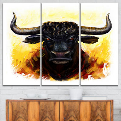 Designart Fierce Bull Illustration Animal Art OnCanvas - 3 Panels