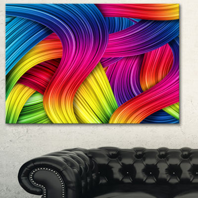 Designart 3D Rainbow Art Abstract Canvas Artwork-3Panels