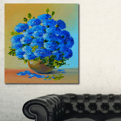 Designart A Bouquet Of Blue Flowers Floral Art Canvas Print