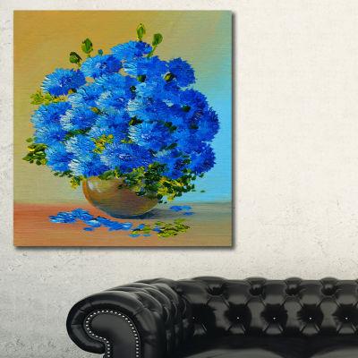 Designart A Bouquet Of Blue Flowers Floral Art Canvas Print - 3 Panels