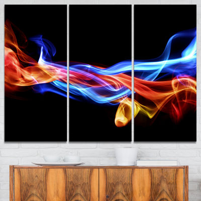 Designart Fire And Ice Design Abstract Abstract Print On Canvas - 3 Panels