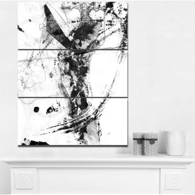 Designart Abstract Black Stain Abstract Canvas ArtPrint - 3 Panels