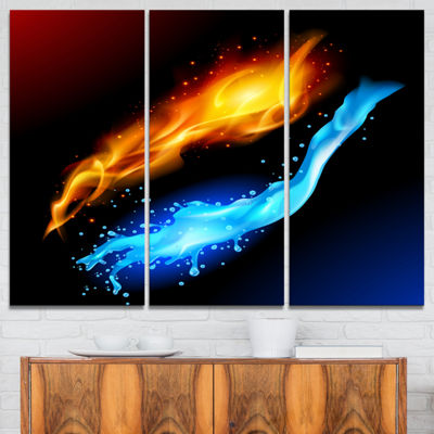 Designart Fire And Water Contemporary Art CanvasPrint - 3 Panels