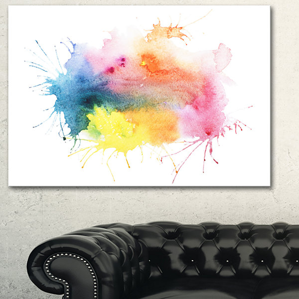 Designart Abstract Blots Aquarelle Art Abstract Canvas Print - 3 Panels