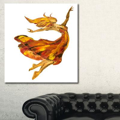 Designart Fire Ballerina Portrait Canvas Art Print- 3 Panels
