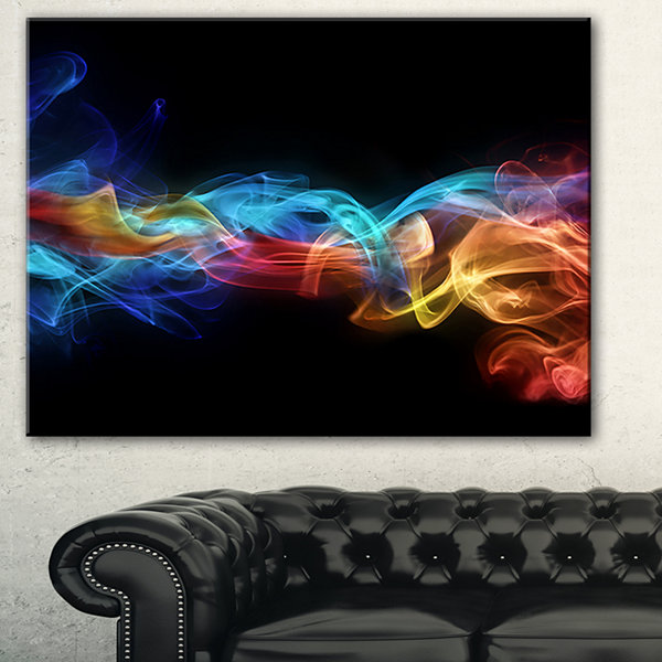 Designart Fire In Colors Abstract Canvas Art Print- 3 Panels