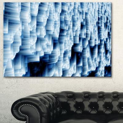 Designart Abstract Blue Ice Photography Canvas ArtPrint - 3 Panels