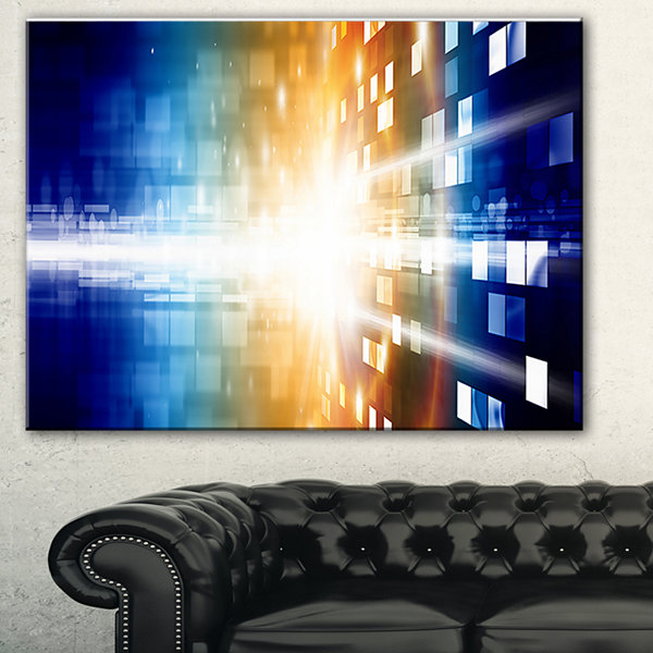 Designart Fire On Blue Abstract Canvas Art Print