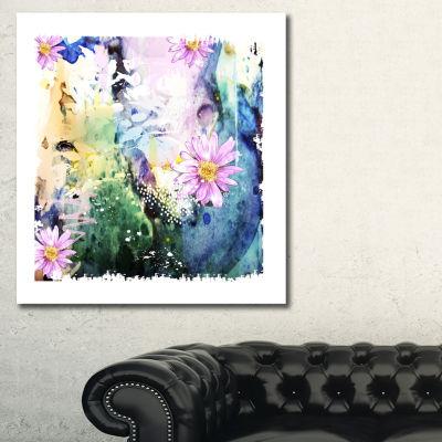 Designart Abstract Blue Pink Floral Art Floral ArtCanvas Print - 3 Panels
