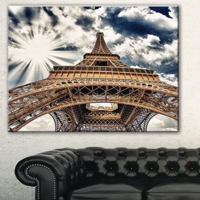 Designart Fisheye View Of Paris Eiffel Tower Cityscape Digital Art Canvas Print