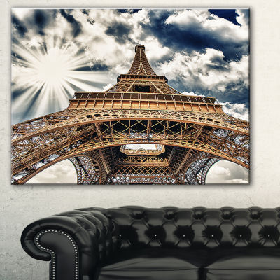 Designart Fisheye View Of Paris Eiffel Tower Cityscape Digital Art Canvas Print - 3 Panels