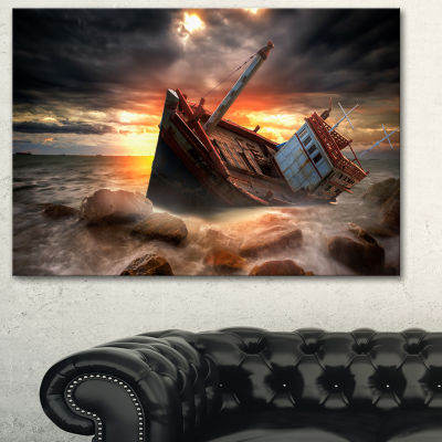 Designart Fishing Boat Beached Landscape Photography Canvas Art Print