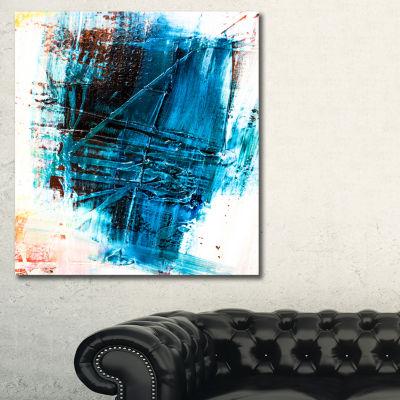 Designart Abstract Blue Structure Art Abstract Canvas Art Print - 3 Panels