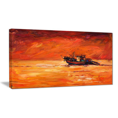 Designart Fishing Boat In Red Hue Seascape CanvasArt Print