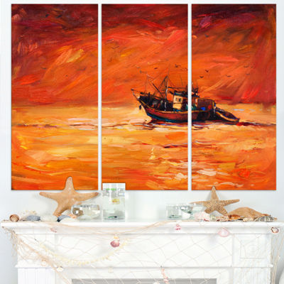 Designart Fishing Boat In Red Hue Seascape CanvasArt Print - 3 Panels