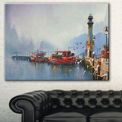 Designart Fishing Boats In Harbor Landscape Painting Canvas Print - 3 Panels