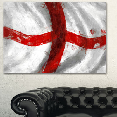 Designart Flag Of England Contemporary Canvas ArtPrint - 3 Panels
