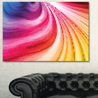 Designart Abstract Colorful Waves Contemporary Canvas Art Print