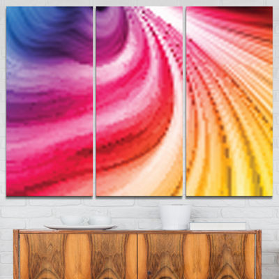 Designart Abstract Colorful Waves Contemporary Canvas Art Print - 3 Panels