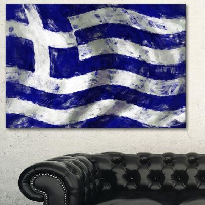 Designart Flag Of Greece Contemporary Canvas ArtPrint - 3 Panels
