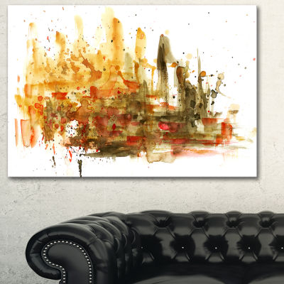 Designart Abstract Composition Art Abstract CanvasArt Print - 3 Panels