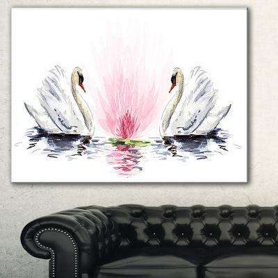 Designart Floating Swans On White Background Animal Art On Canvas