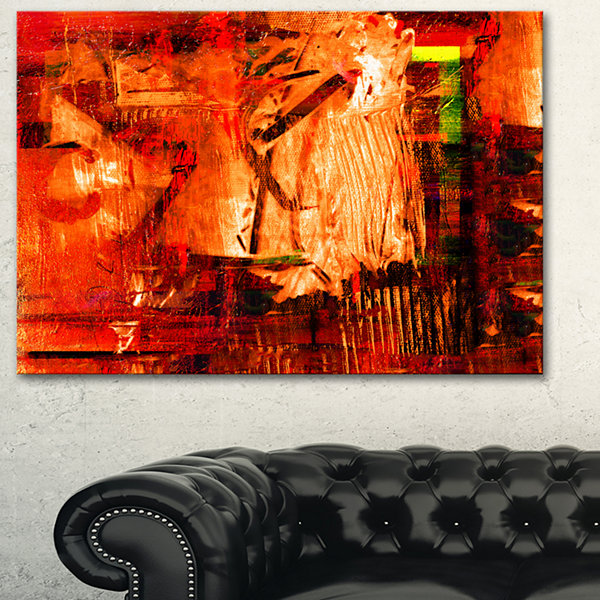 Designart Abstract Fire Red Abstract Canvas Artwork